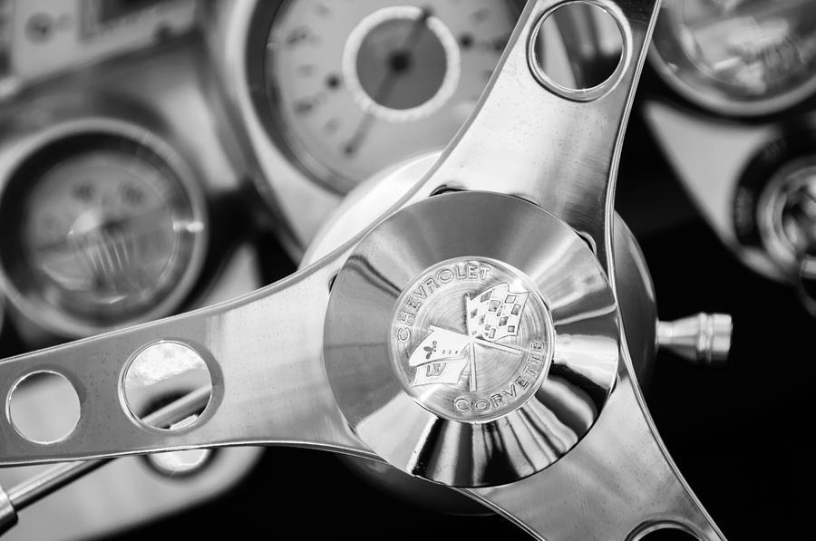 Sports Cars Photograph - 1960 Chevrolet Corvette Steering Wheel Emblem by Jill Reger