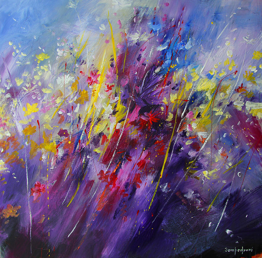 Abstract Flowers Painting by Mario Zampedroni