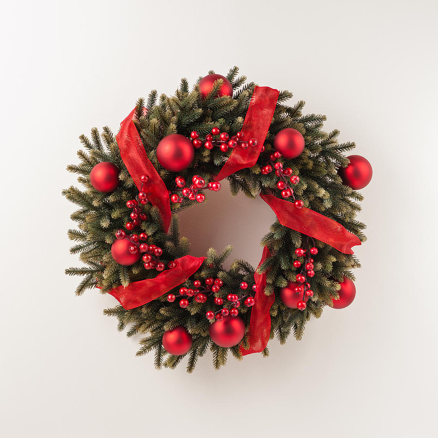 Red Photograph - Advent Christmas Wreath  by U Schade