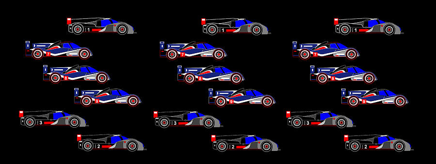 9 Audis And 9 Peugeots Digital Art - 9 Audis And 9 Peugeots by Asbjorn Lonvig