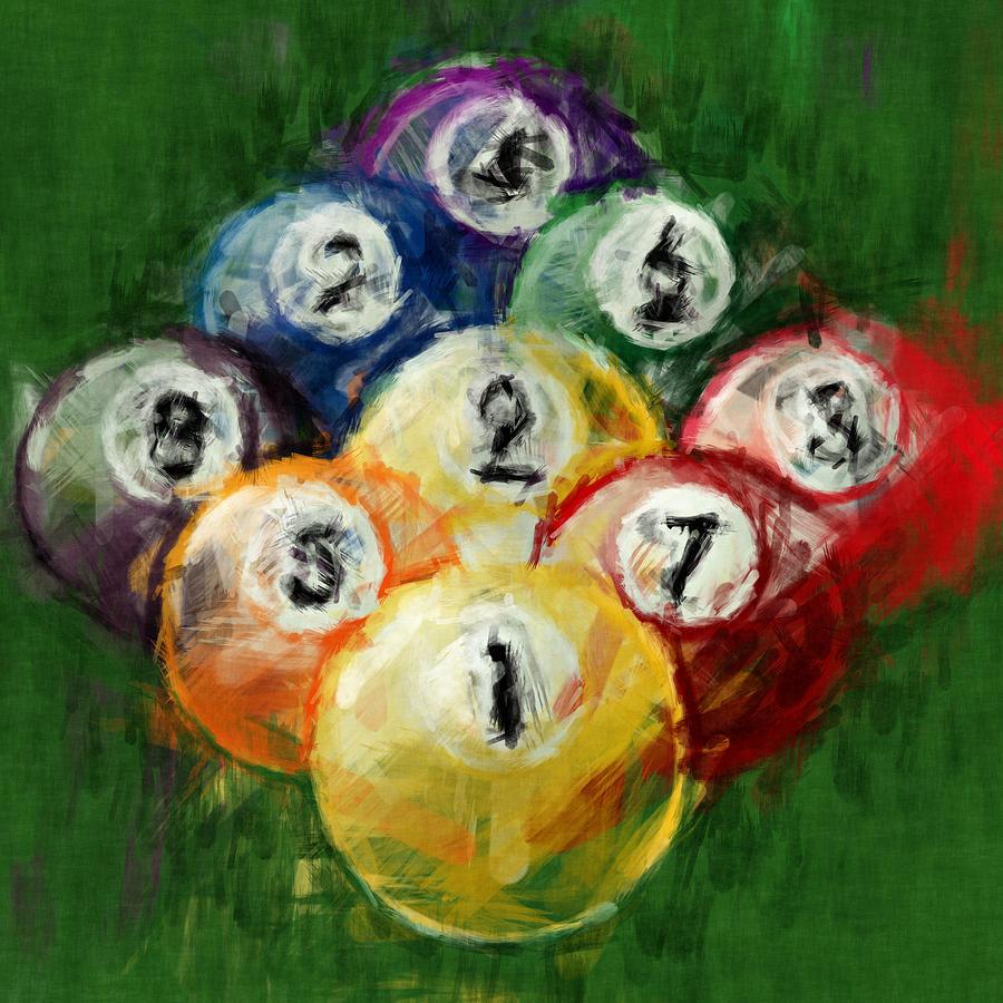 9 Ball Rack Abstract Digital Art by David G Paul