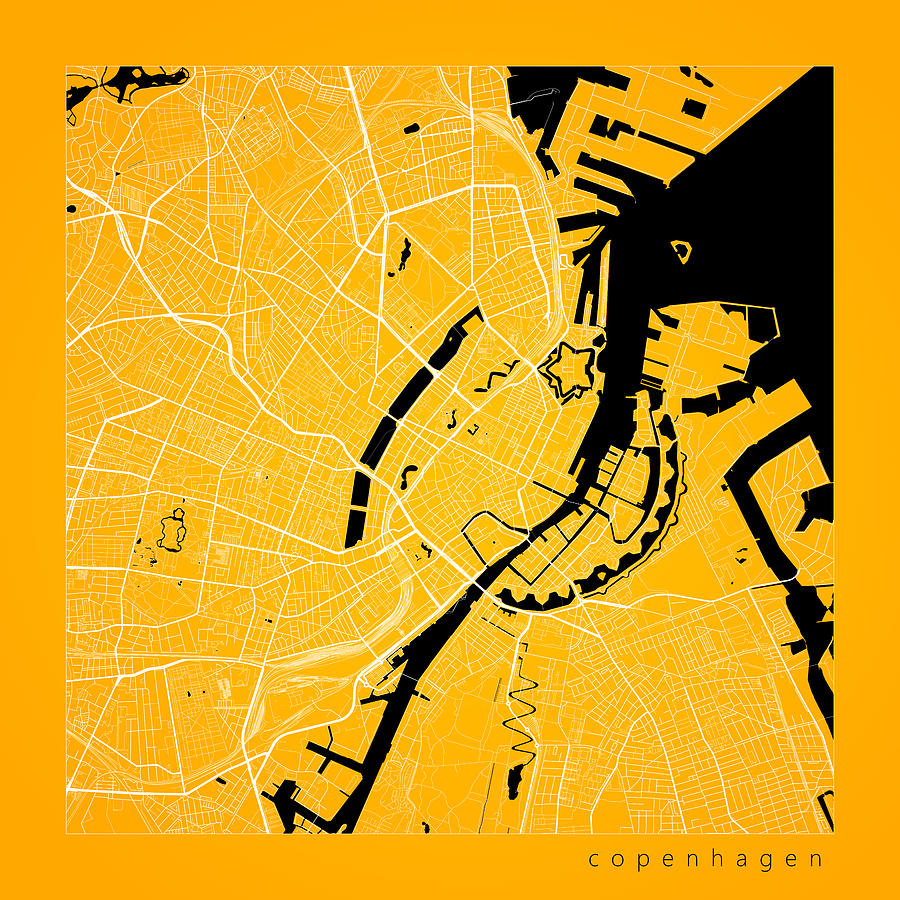 Copenhagen Street Map Copenhagen Denmark Road Map Art On Color