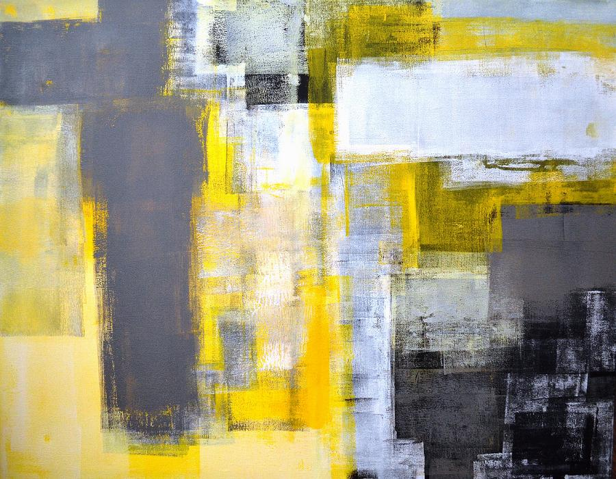 Busy busy grey and yellow abstract art painting painting for Yellow and gray paint