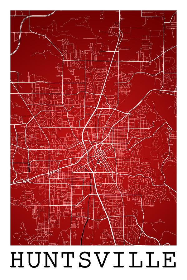 Huntsville Street Map - Huntsville Alabama Usa Road Map Art On C Digital Art