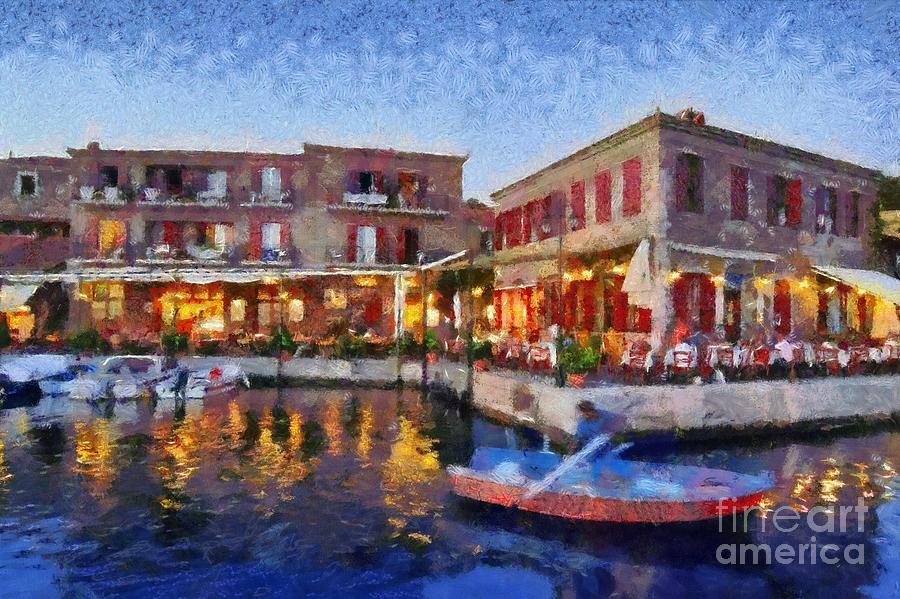 Molyvos Town In Lesvos Island Painting by George Atsametakis