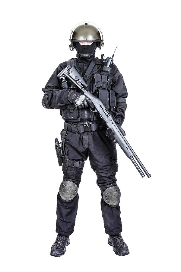 Spec Ops Soldier In Black Uniform by Oleg Zabielin