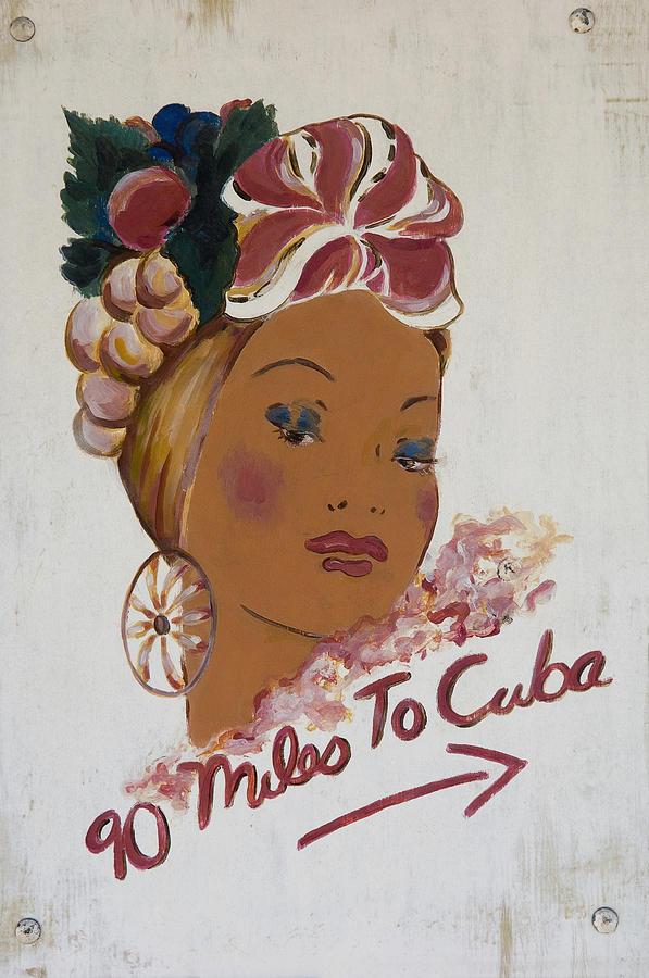 Parker Photograph - 90 Miles To Cuba Sign Key West, Florida by Chris Parker