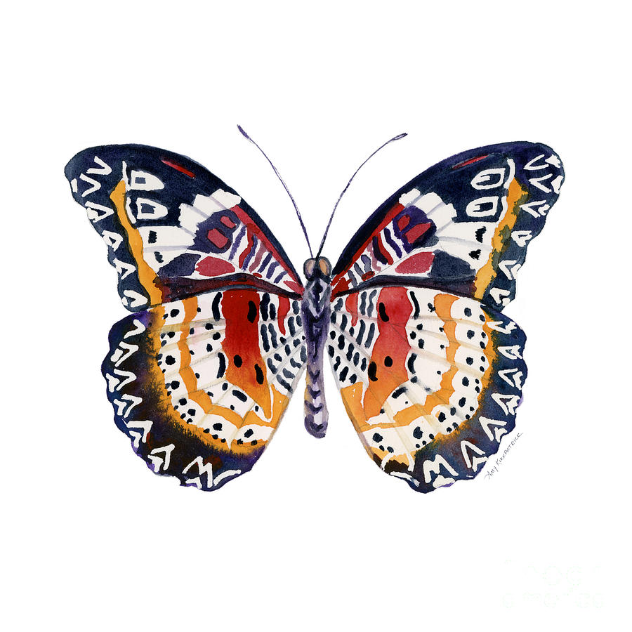 Red And Black Butterfly Painting - 94 Lacewing Butterfly by Amy Kirkpatrick