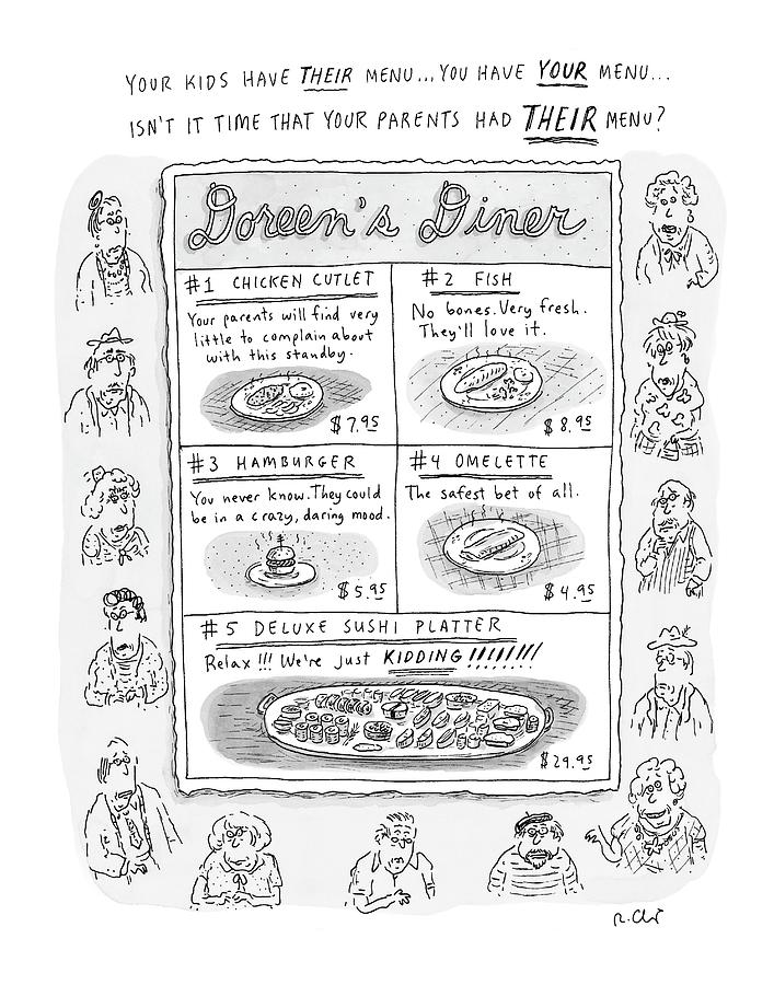 Doreens Diner Drawing by Roz Chast