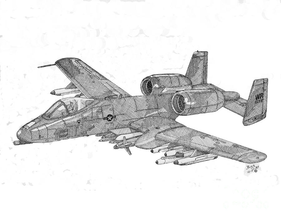 A 10 Thunderbolt Drawing A-10 Warthog Dr...