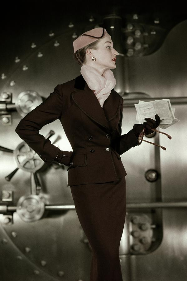 A 1950s Model Wearing A Tweed Suit Photograph by Leombruno-Bodi