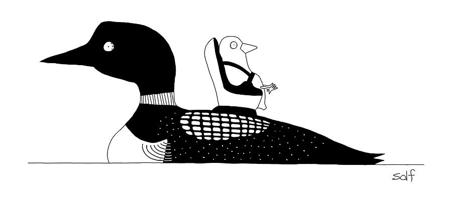 A Baby Duck In A Tiny Car Seat On The Mother Drawing by Seth Fleishman