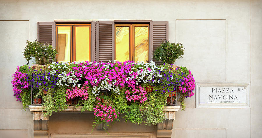 A Balcony With Multicolored Flowers Photograph by Romaoslo