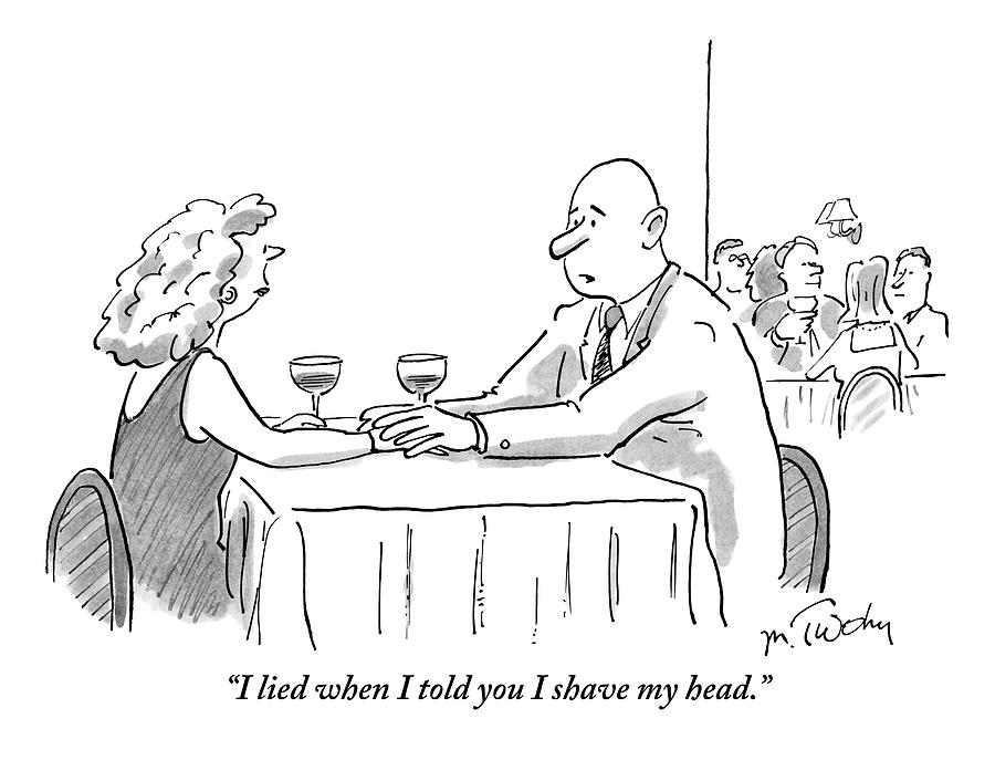 A Bald Man Speaks To A Woman At A Restaurant Drawing by Mike Twohy