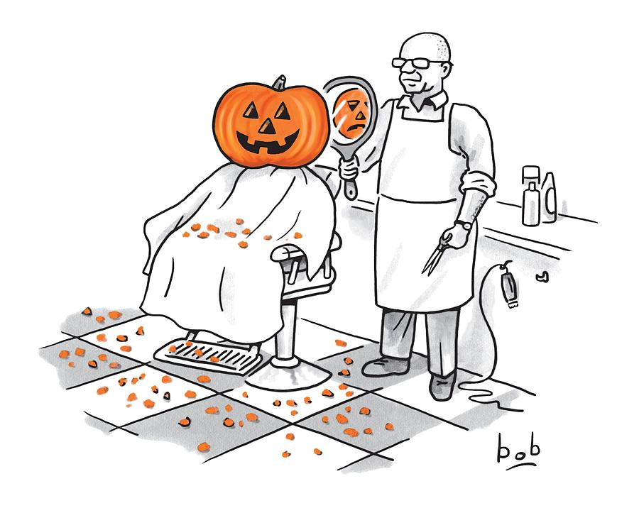 A Barber Shows A Smiling Jack-o-lantern The Back Drawing by Bob Eckstein