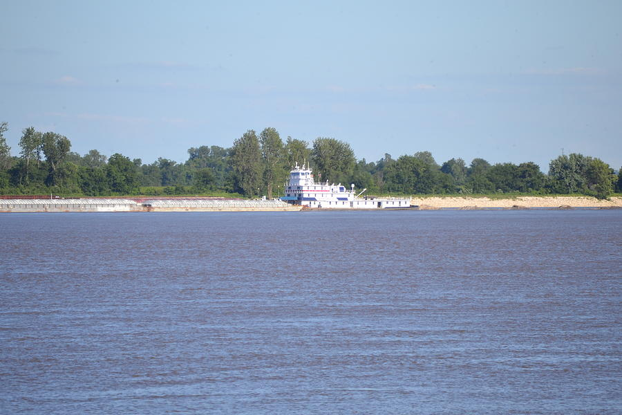River Photograph - A Barge On The Mississippi River by Kim Stafford