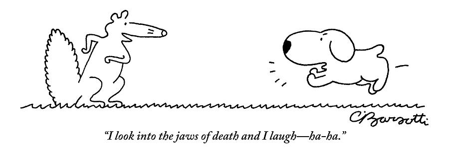 A Barking Dog Runs Towards A Squirrel Who Faces by Charles Barsotti
