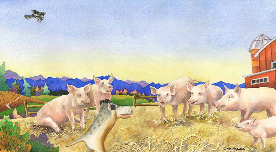 Children's Book Illustration Painting - A Barnyard Of Pigs by Anne Gifford
