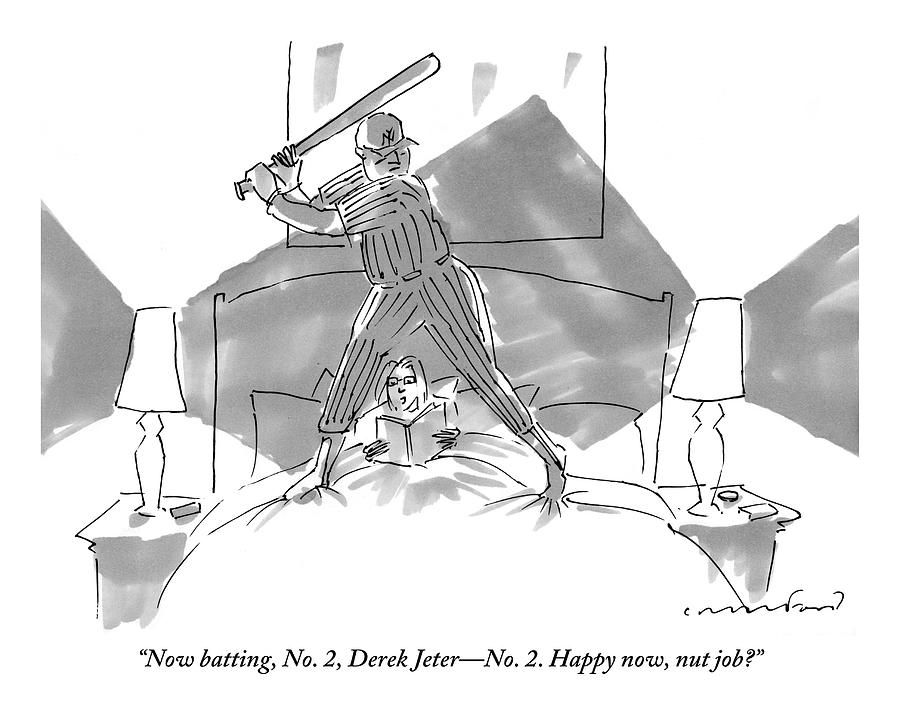 A Baseball Player About To Take A Swing Stands Drawing by Michael Crawford