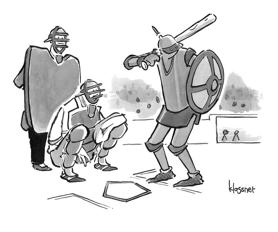 A Baseball Player Dressed Like A Knight Holds Drawing by John  Klossner