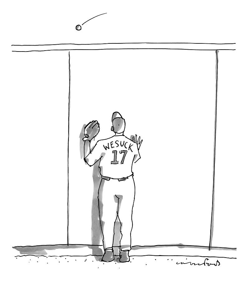 A Baseball Player Watches A Ball Fly Over A Wall Drawing by Michael Crawford