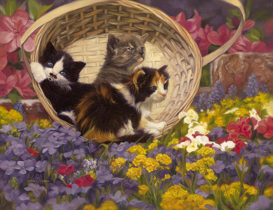 Cat Painting - A Basket Of Cuteness by Lucie Bilodeau
