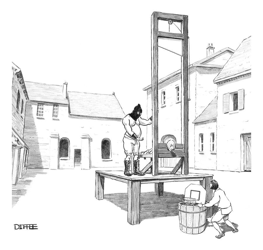 Guillotine Drawing - A Basketball Hoop Is Placed Under A Guillotine by Matthew Diffee