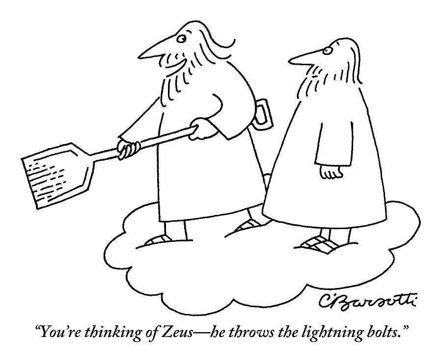 A Bearded Man Standing On A Cloud Is Shoveling Drawing by Charles Barsotti