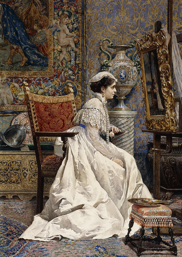 1874 Painting - A Beautiful Connoisseur by Tomas Moragas y Torras