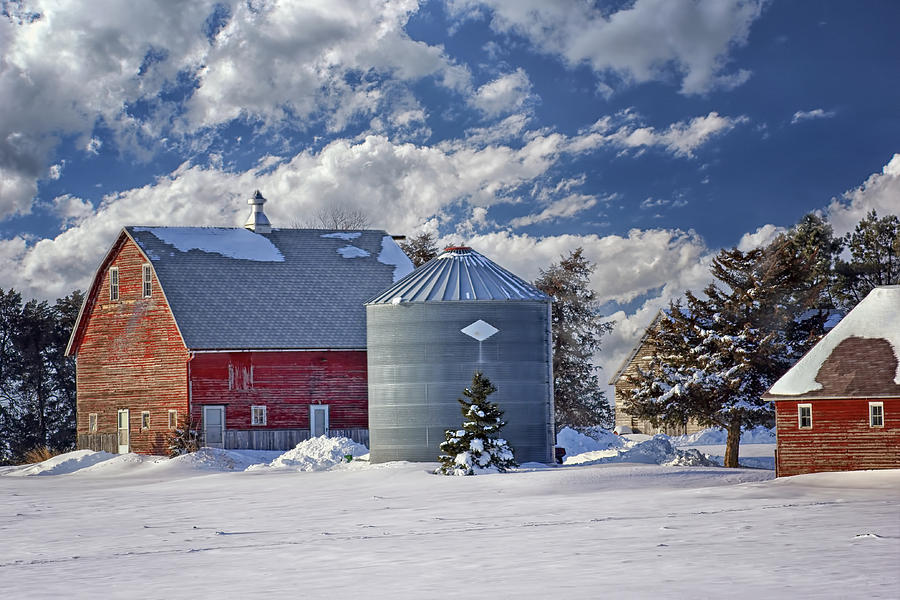 Red Barns Photograph - A Beautiful Winter Day by Nikolyn McDonald