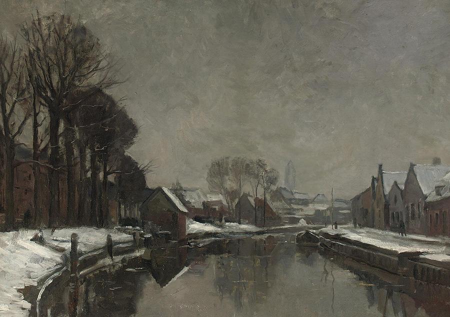 Belgian Painting - A Belgian Town In Winter by Albert Baertsoen