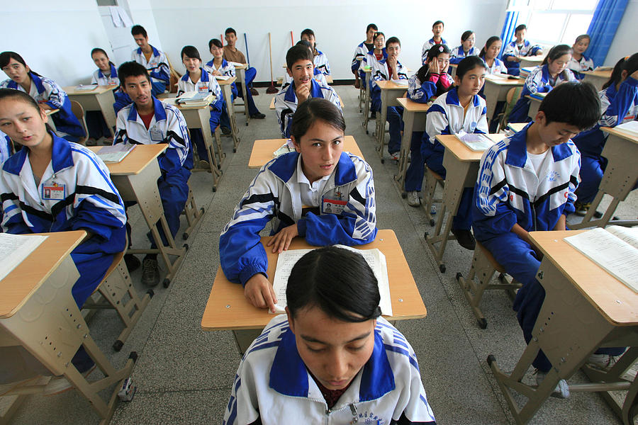 A bilingual school in Xinjiang teaches Mandarin Chinese to Uyghurs Photograph by Servais Mont