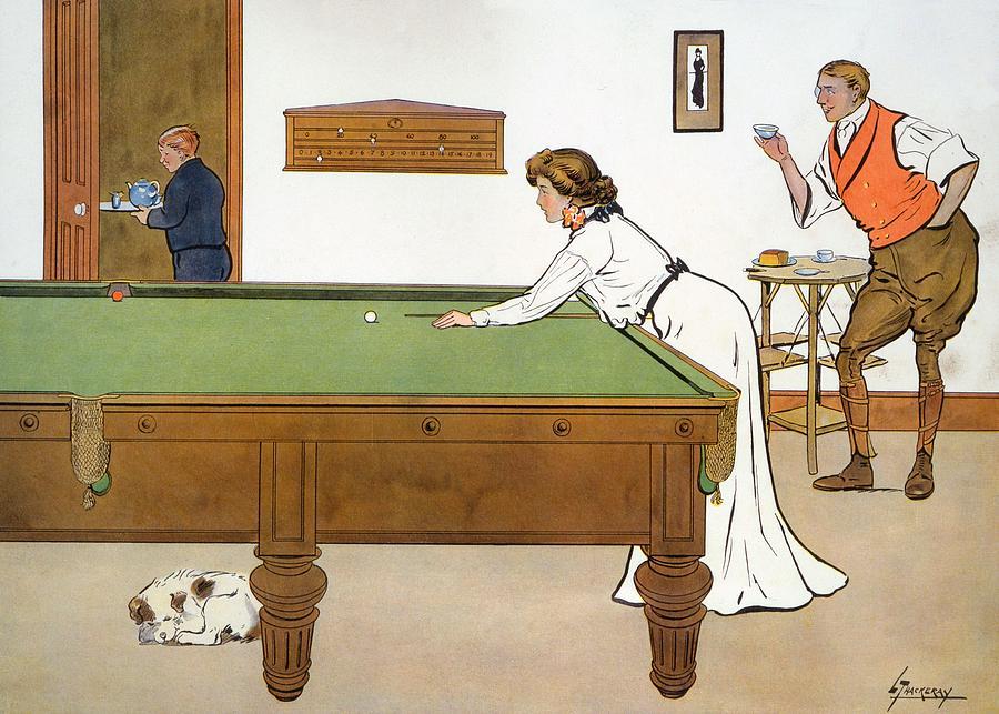 Billiards Drawing - A Billiards Match by Lance Thackeray