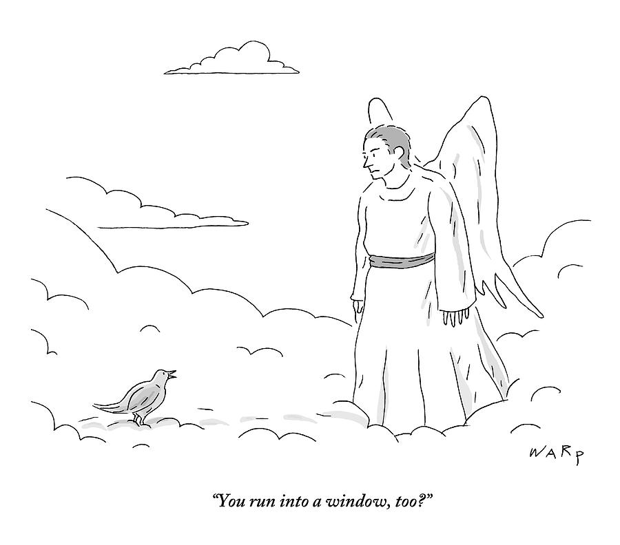 A Bird In Heaven Addresses A Male Angel And Asks Drawing by Kim Warp