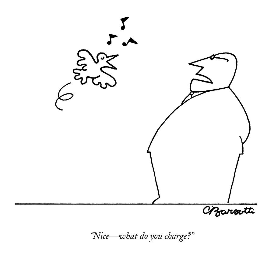 A Bird Sings To A Business Man Drawing by Charles Barsotti