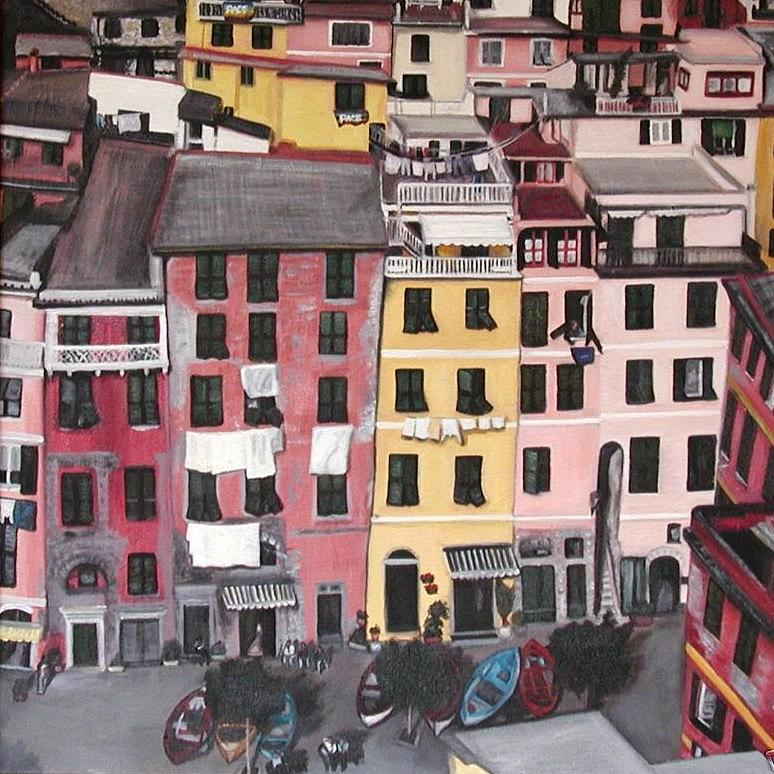 Vernazza Painting - A Birds Eye View Of Cinque Terre by Quin Sweetman