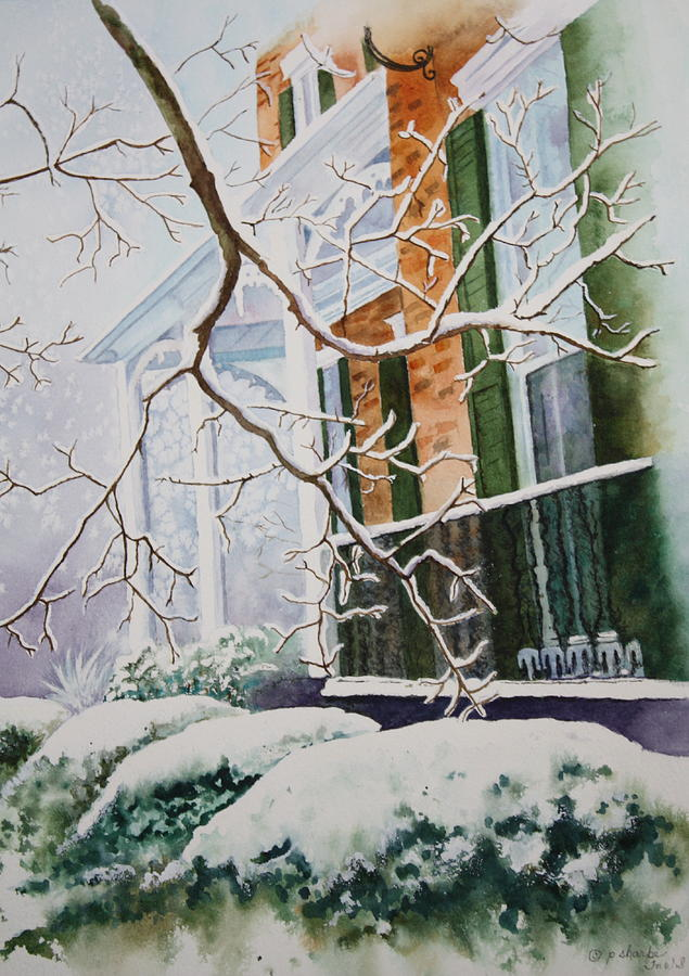 Historic Architecture Painting - A Blanket Of Snow by Patsy Sharpe