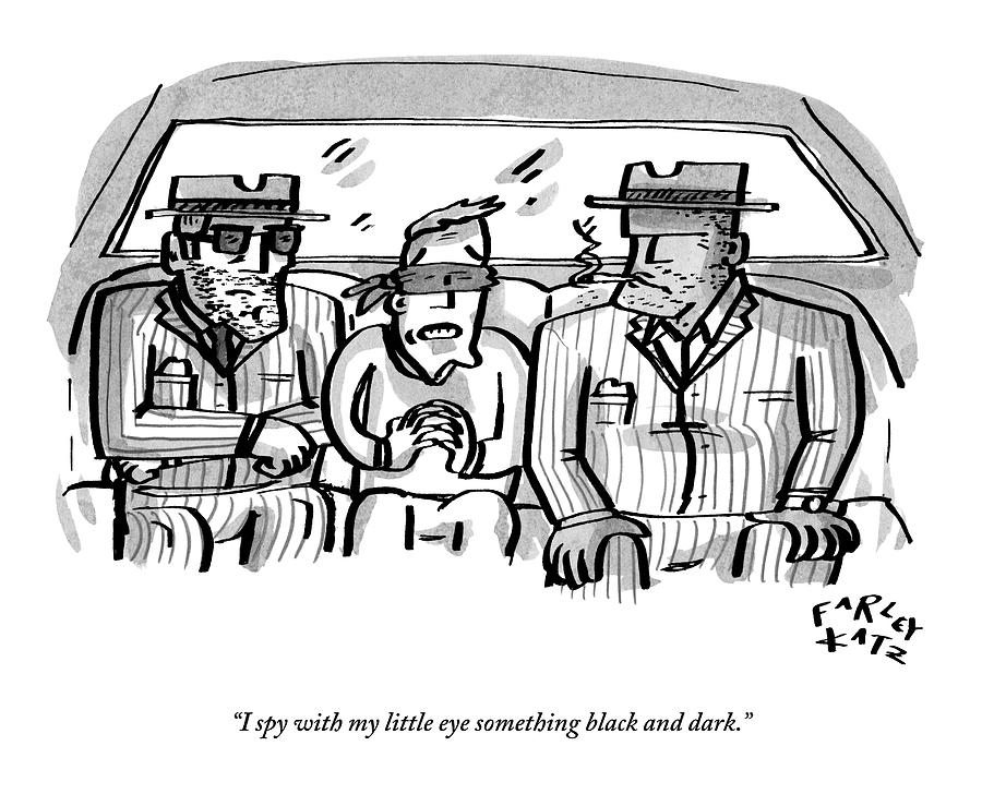A Blindfolded Man In The Backseat Of A Car Drawing by Farley Katz