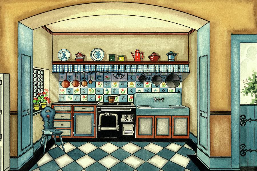 A Blue Kitchen With A Tiled Floor Digital Art by Laurence Guetthoff