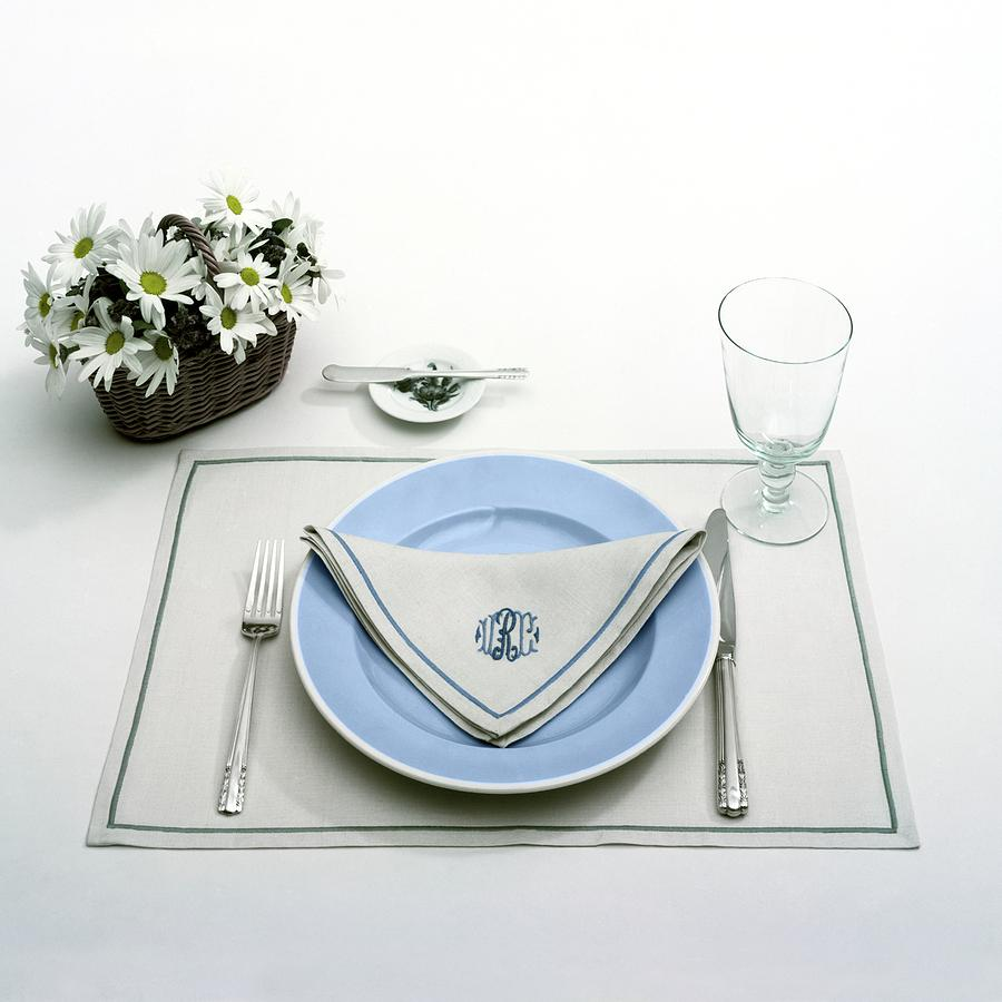 Utensils Photograph - A Blue Table Setting by Haanel Cassidy