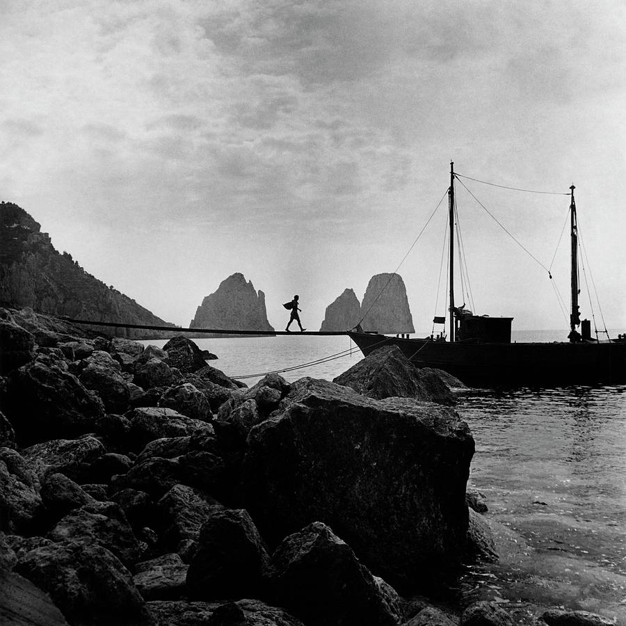 A Boat Docked At Capri Photograph by Clifford Coffin