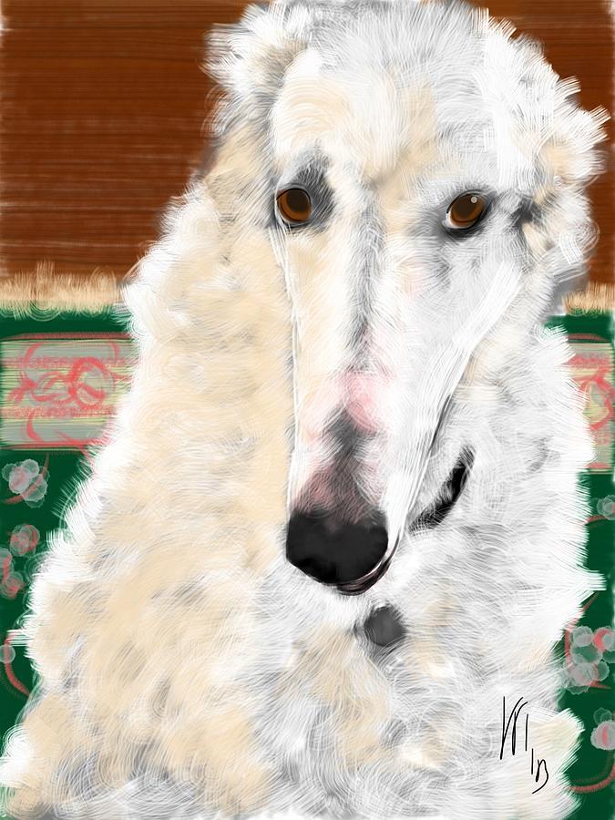 Borzoi Painting - A Borzoi by Lois Ivancin Tavaf