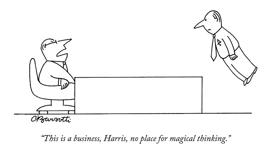 A Boss Behind A Desk Berates His Inferior Drawing by Charles Barsotti