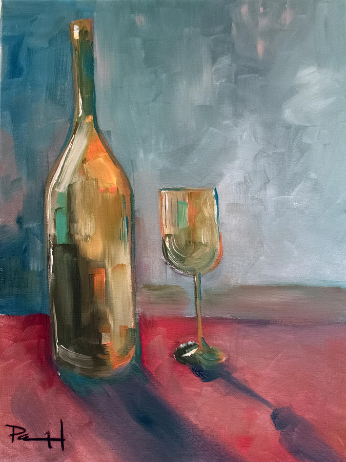 Wine Painting - A Bottle Of White... by Sean Parnell