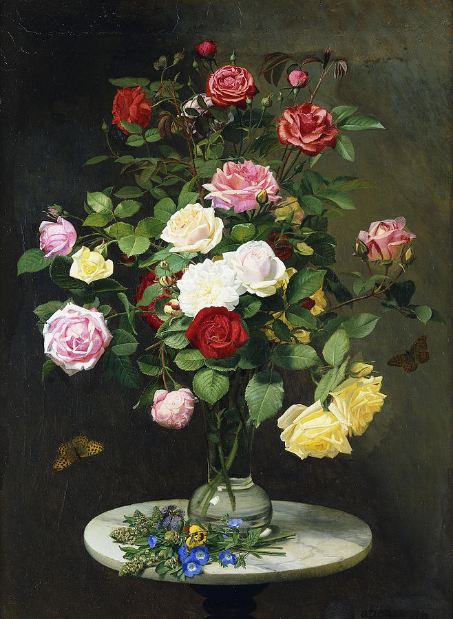 A Bouquet Of Roses In A Glass Vase By Wild Flowers On A ...