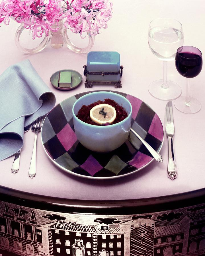 A Bowl Of Food On A Pink Table Photograph by Haanel Cassidy