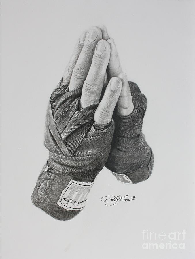 Boxing Drawing - A Boxers Prayer by Joshua Navarra