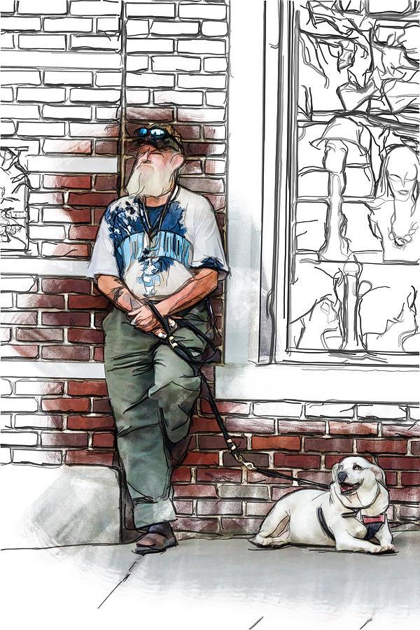 Appalachia Drawing - A Boy And His Dog by John Haldane