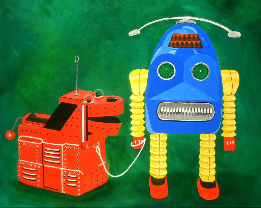 Robot Painting - A Boy And His Dog by Karyn Robinson