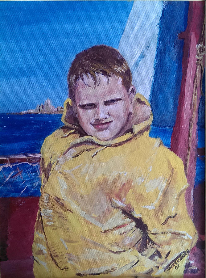 Boat Painting - A Boy On A Boat by Jack Skinner